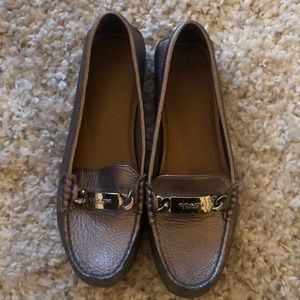 Coach metallic silver leather loafers